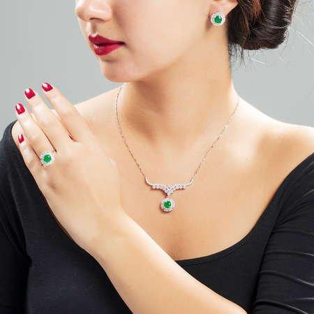 Yeşil Zirkon Taşlı 925 Ayar Gümüş 3'lü Takı Seti - Thumbnail