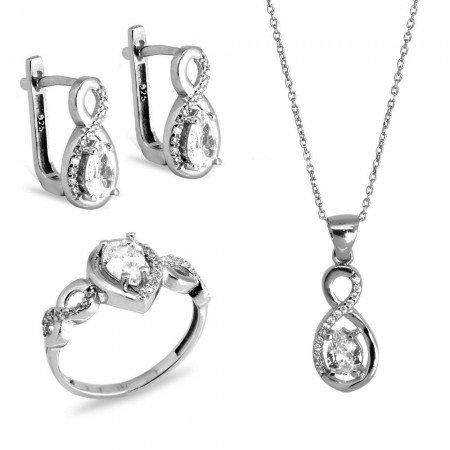 925 Ayar Gümüş Zirkon Taşlı Set (Model-19) - Thumbnail