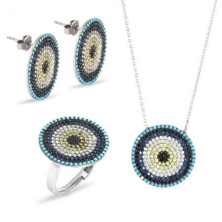 Zirkon Taşlı Göz Tasarım 925 Ayar Gümüş 3'lü Takı Seti - Thumbnail