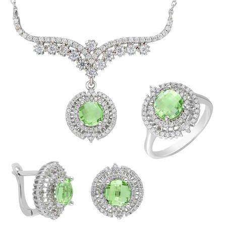 Açık Yeşil Zirkon Taşlı 925 Ayar Gümüş 3'lü Takı Seti - Thumbnail