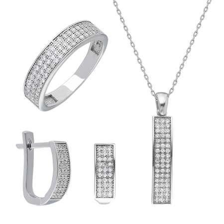 Beyaz Zirkon Taşlı 925 Ayar Gümüş 3'lü Takı Seti - Thumbnail