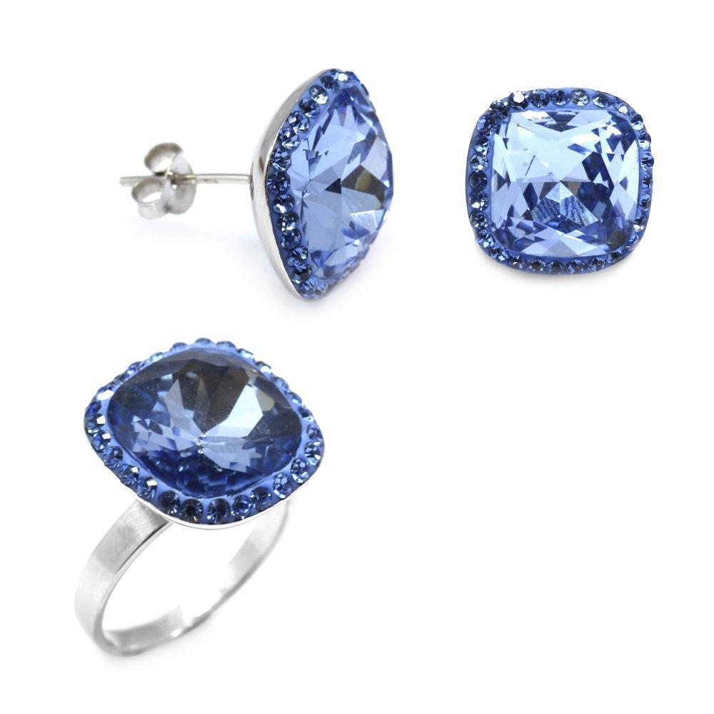Mavi Zirkon Taşlı 925 Ayar Gümüş 2'li Takı Seti