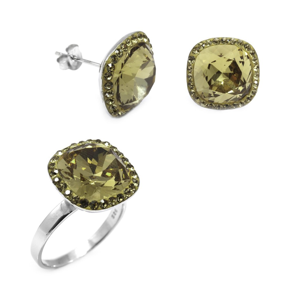 Yeşil Zirkon Taşlı 925 Ayar Gümüş 2'li Takı Seti
