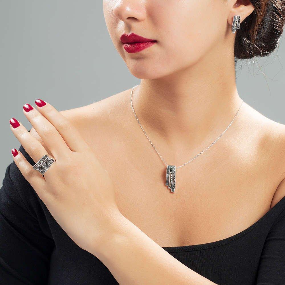 Siyah Zirkon Taş İşlemeli 925 Ayar Gümüş 3'lü Takı Seti