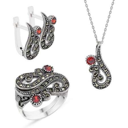 Kırmızı Zirkon Taşlı 925 Ayar Gümüş 3'lü Takı Seti - Thumbnail
