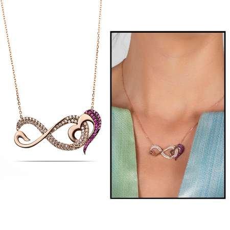 Pembe-Beyaz Zirkon Taşlı Sonsuz Kalp Tasarım 925 Ayar Gümüş Bayan Kolye - Thumbnail
