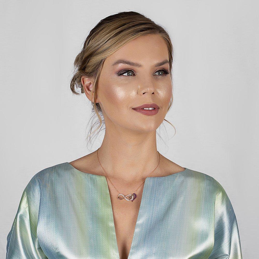 Pembe-Beyaz Zirkon Taşlı Sonsuz Kalp Tasarım 925 Ayar Gümüş Bayan Kolye