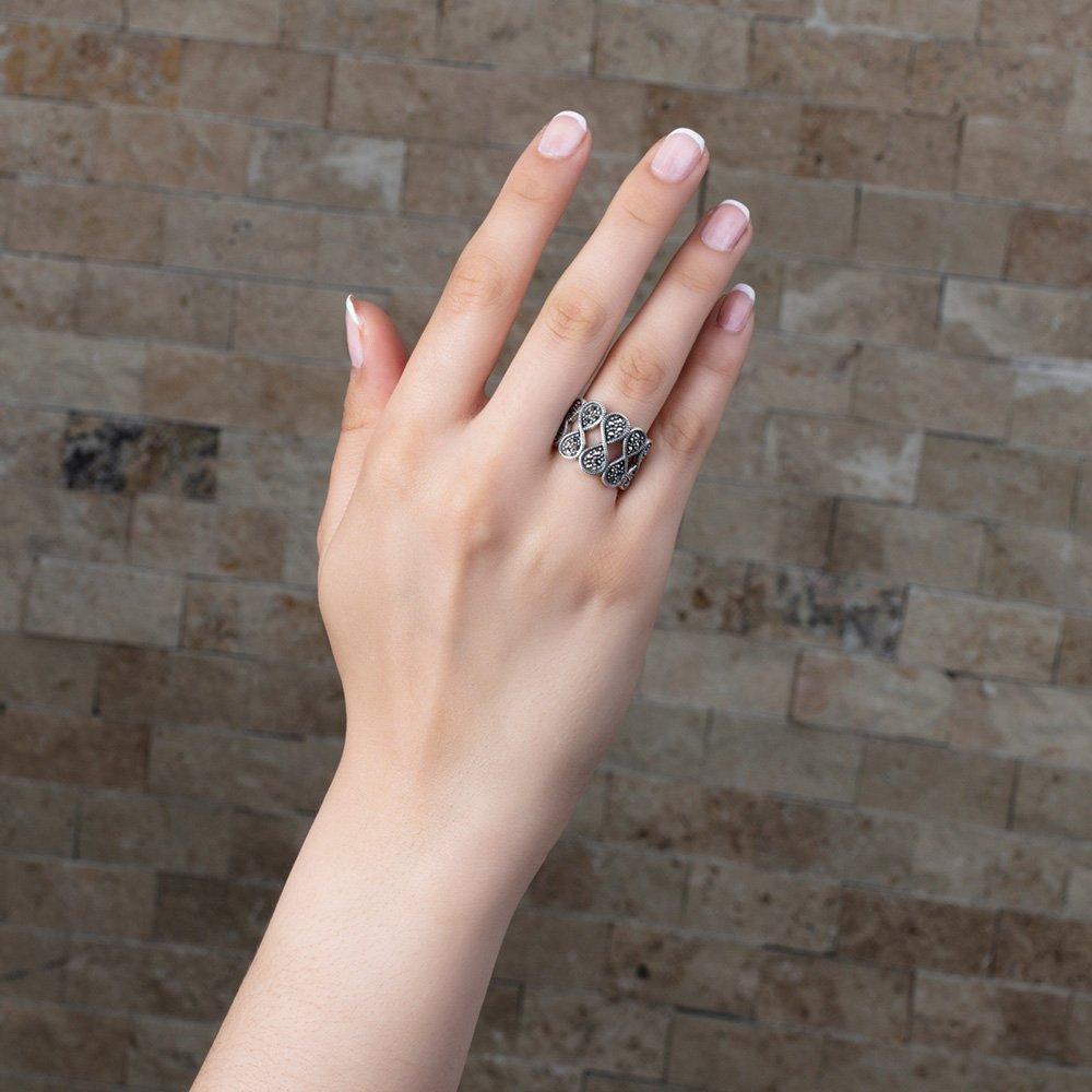 925 Ayar Gümüş Siyah Zirkon Taşlı Sonsuzluk Tasarım Bayan Yüzük
