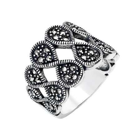 925 Ayar Gümüş Siyah Zirkon Taşlı Sonsuzluk Tasarım Bayan Yüzük - Thumbnail