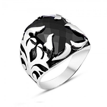 Siyah Zirkon Taşlı 925 Ayar Gümüş Şövalye Erkek Yüzük - Thumbnail