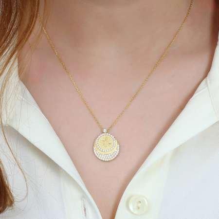 Zirkon Taşlı Gold Renk Tuğra Tasarım 925 Ayar Gümüş Bayan Kolye - Thumbnail