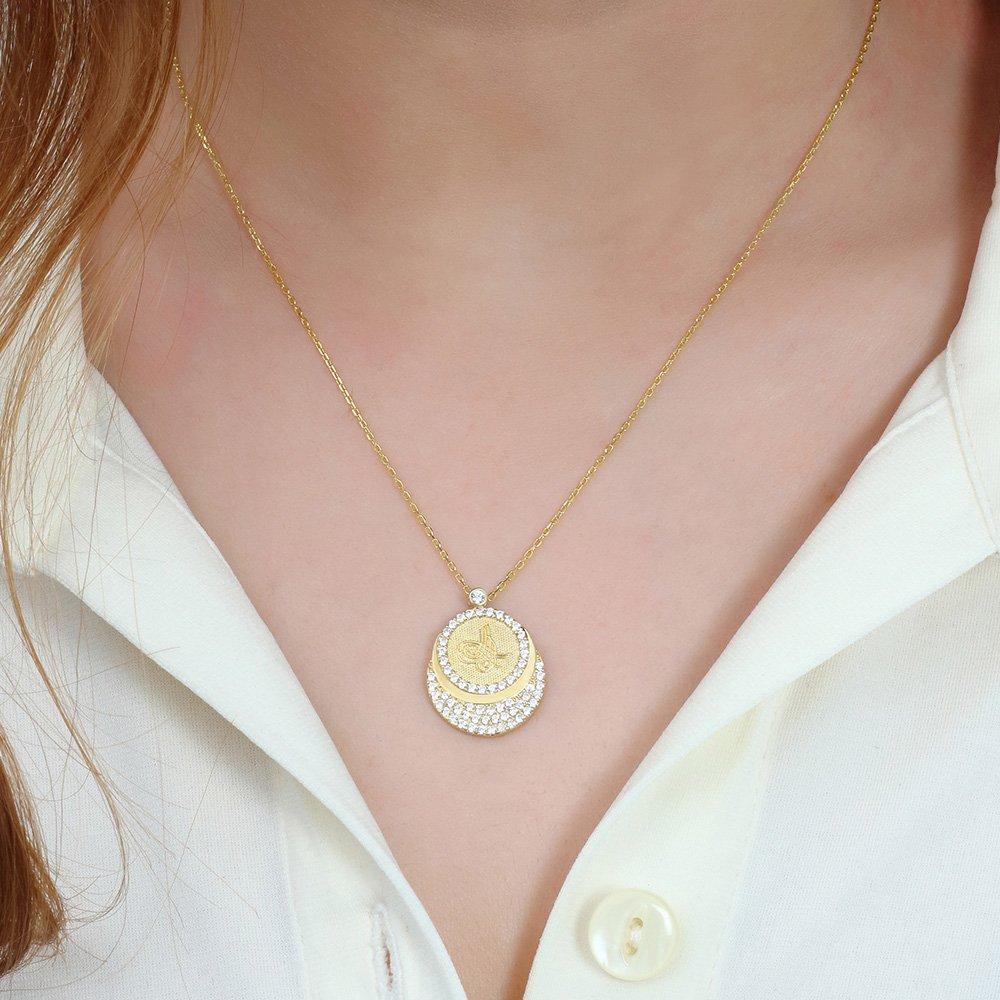 Zirkon Taşlı Gold Renk Tuğra Tasarım 925 Ayar Gümüş Bayan Kolye