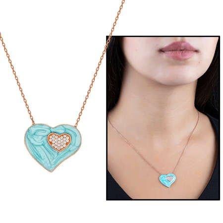Zirkon Taşlı Çift Kalp Tasarım Turkuaz 925 Ayar Gümüş Bayan Kolye - Thumbnail