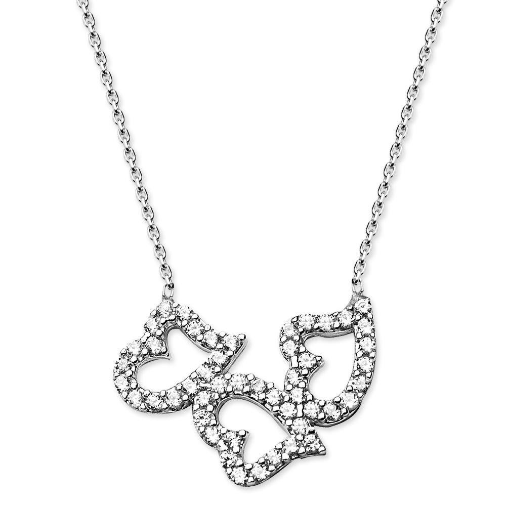 925 Ayar Gümüş Zirkon Taşlı Üç Kalp Kolye