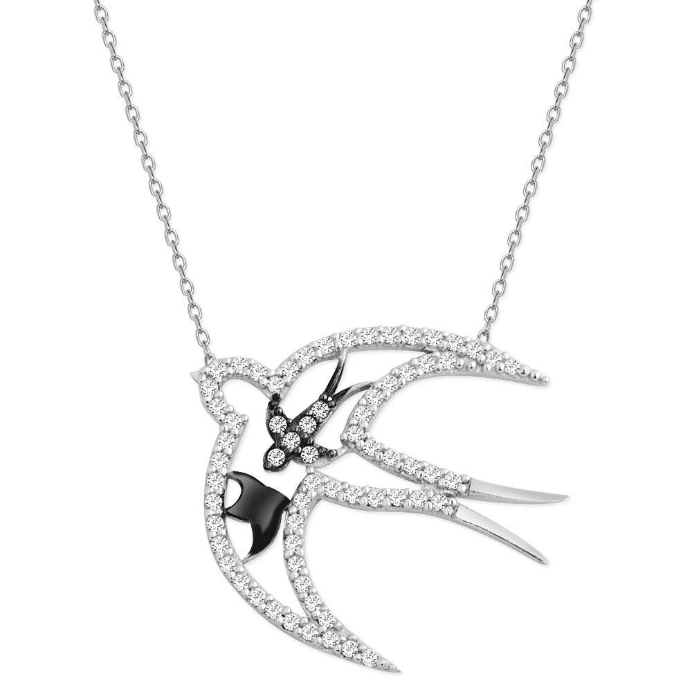 925 Ayar Gümüş Zirkon Taşlı Uçan Kuş Kolye