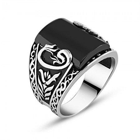 925 Ayar Gümüş Zirkon Taşlı Vav-Lale Detaylı Yüzük - Thumbnail