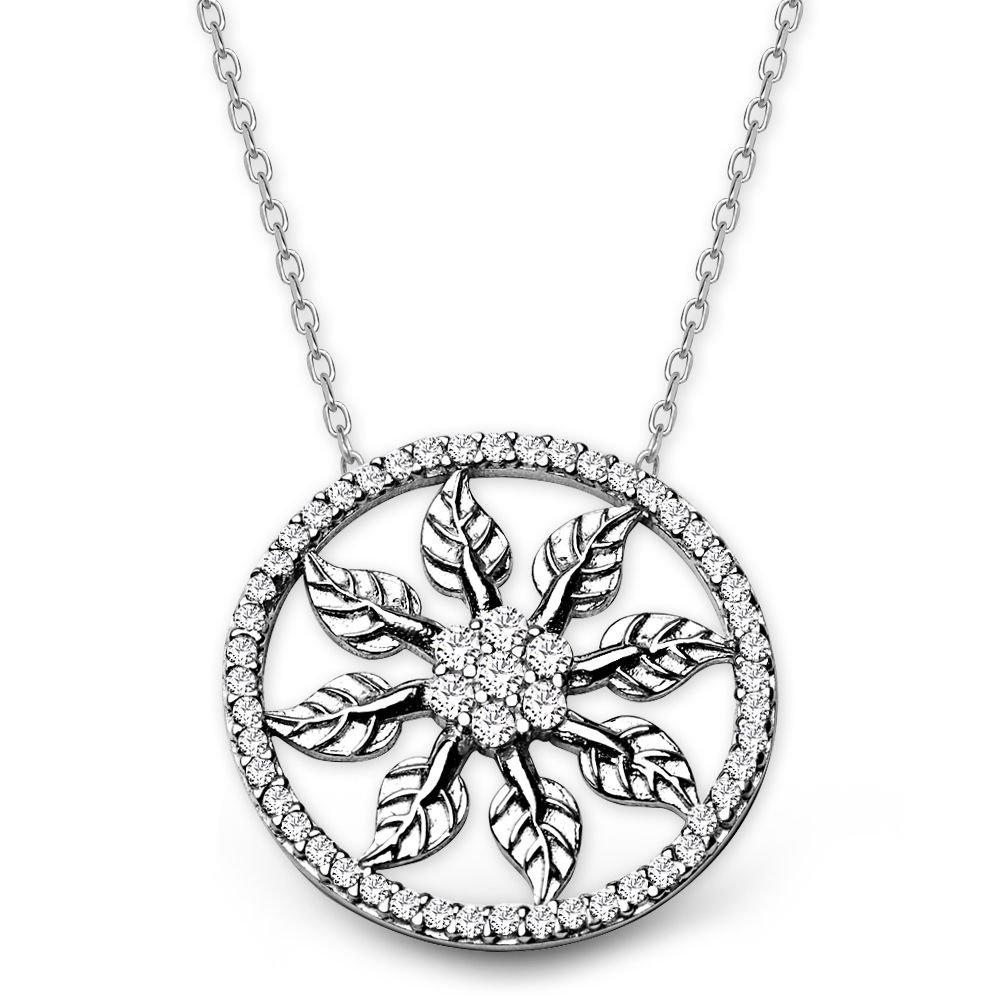 925 Ayar Gümüş Zirkon Taşlı Yaprak Kolye