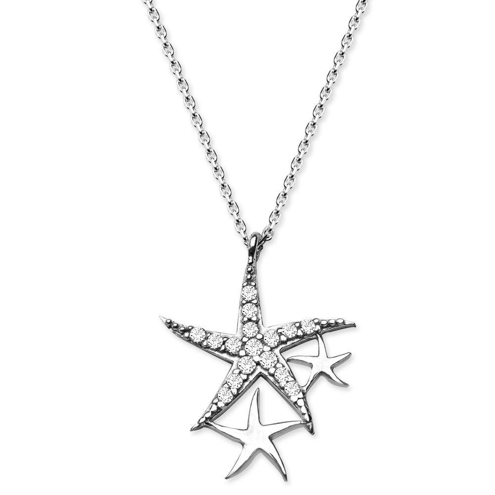 925 Ayar Gümüş Zirkon Taşlı Yıldızlar Kolye
