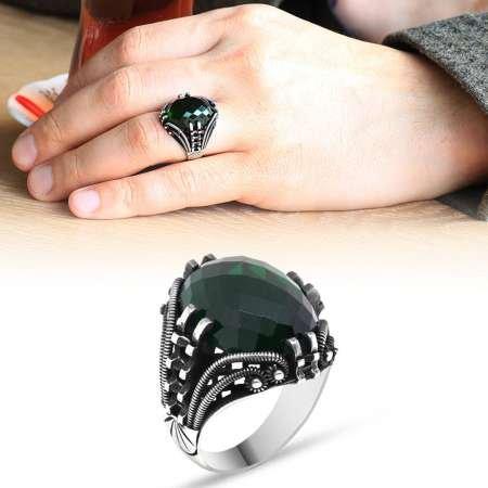 Tırnak Tasarım Yeşil Zirkon Taşlı 925 Ayar Gümüş Erkek Yüzük - Thumbnail
