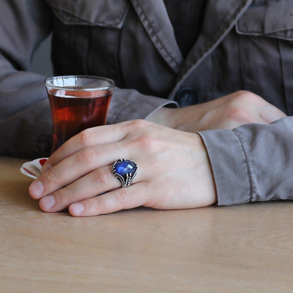 Tırnak Tasarım Mavi Zirkon Taşlı 925 Ayar Gümüş Erkek Yüzük