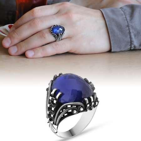 Tırnak Tasarım Mavi Zirkon Taşlı 925 Ayar Gümüş Erkek Yüzük - Thumbnail