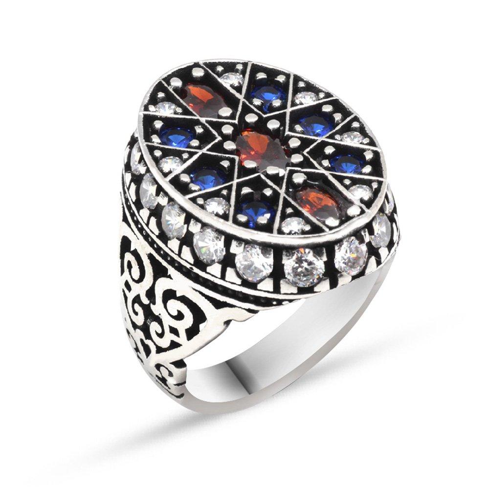 Yıldız Tasarım Mavi-Kırmızı Zirkon Taşlı 925 Ayar Gümüş Erkek Yüzük