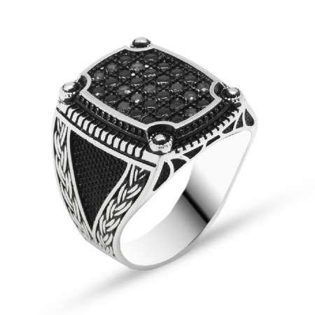 Zincir Desen İşlemeli Siyah Zirkon Taşlı 925 Ayar Gümüş Erkek Yüzük - Thumbnail
