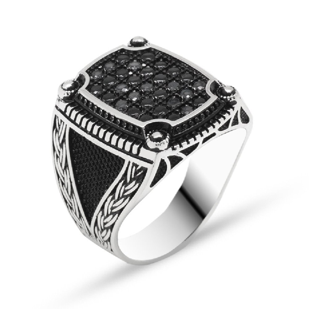 Zincir Desen İşlemeli Siyah Zirkon Taşlı 925 Ayar Gümüş Erkek Yüzük