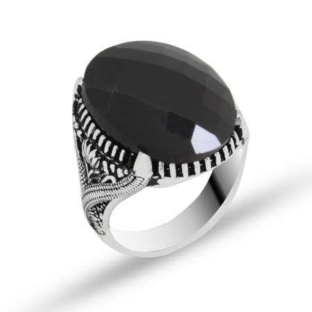 Tırnak İşlemeli Siyah Zirkon Taşlı 925 Ayar Gümüş Erkek Yüzük - Thumbnail