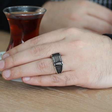 Nokta İşlemeli Siyah Zirkon Taşlı 925 Ayar Gümüş Erkek Yüzük - Thumbnail