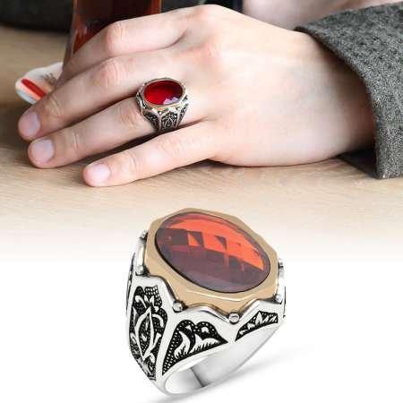 Lale İşlemeli Kırmızı Zirkon Taşlı 925 Ayar Gümüş Erkek Yüzük - Thumbnail