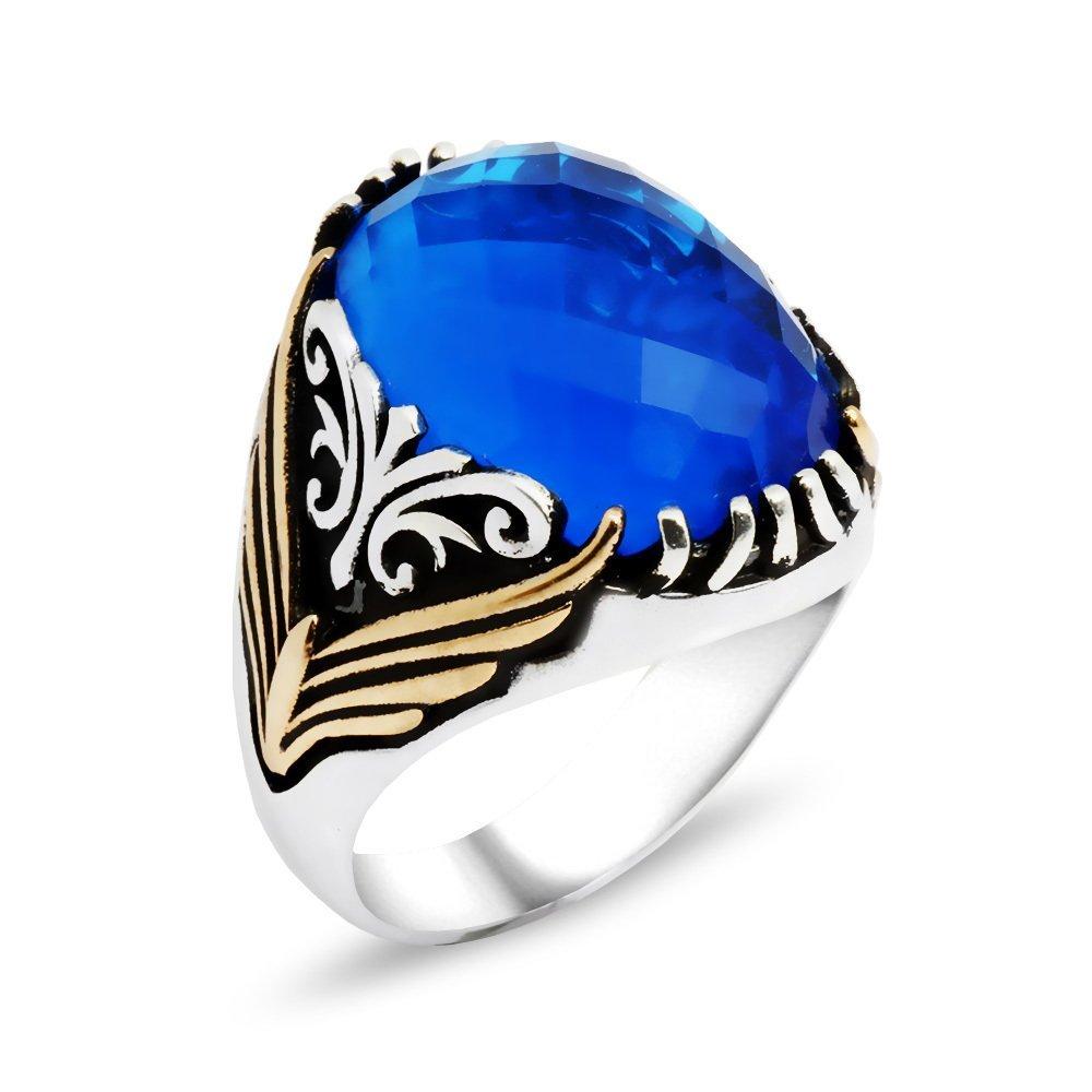 Tırnak İşlemeli Mavi Zirkon Taşlı 925 Ayar Gümüş Erkek Yüzük