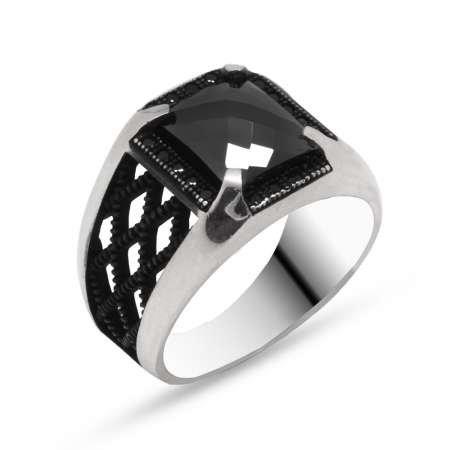 Baklava Desen İşlemeli Siyah Zirkon Taşlı 925 Ayar Gümüş Erkek Yüzük - Thumbnail
