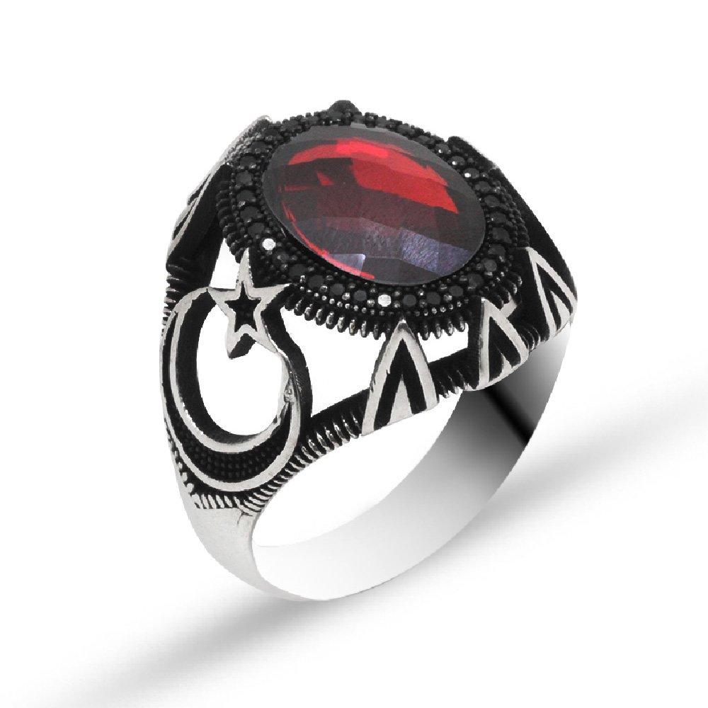 Ayyıldız İşlemeli Kırmızı Zirkon Taşlı 925 Ayar Gümüş Erkek Yüzük