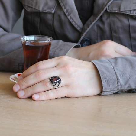 Ayyıldız İşlemeli Kırmızı Zirkon Taşlı 925 Ayar Gümüş Erkek Yüzük - Thumbnail