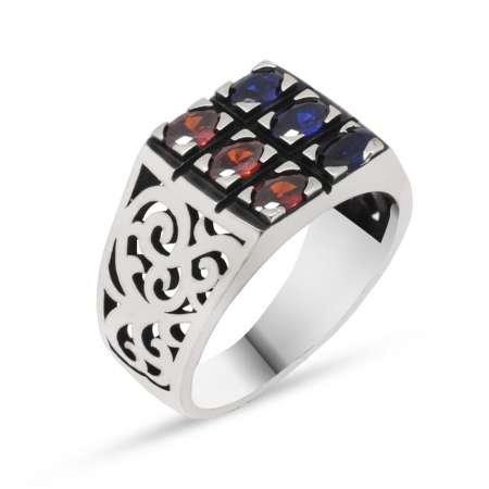 Mavi-Kırmızı Zirkon Taşlı 925 Ayar Gümüş Erkek Yüzük - Thumbnail