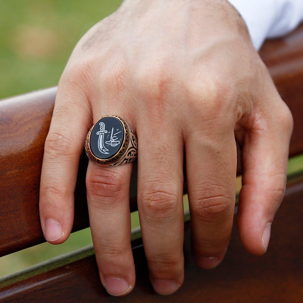 925 Ayar Gümüş Zülfikar Ali Tasarım Oniks Taşlı Yüzük