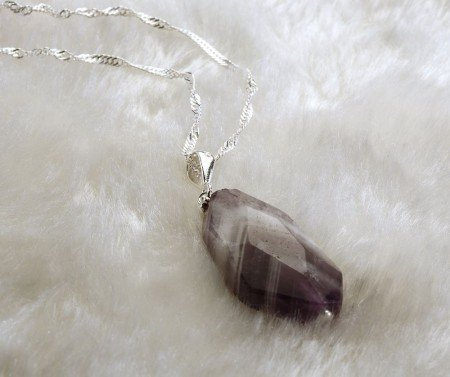925 Ayar Gümüşlü Ametist Doğaltaş Kolye - Thumbnail
