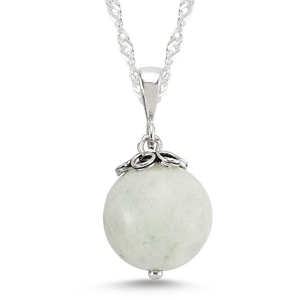 925 Ayar Gümüşlü Ay Taşı Kolye