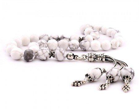 925 Ayar Gümüş Püsküllü Küre Kesim Beyaz Havlit Taşı Doğaltaş Tesbih - Thumbnail