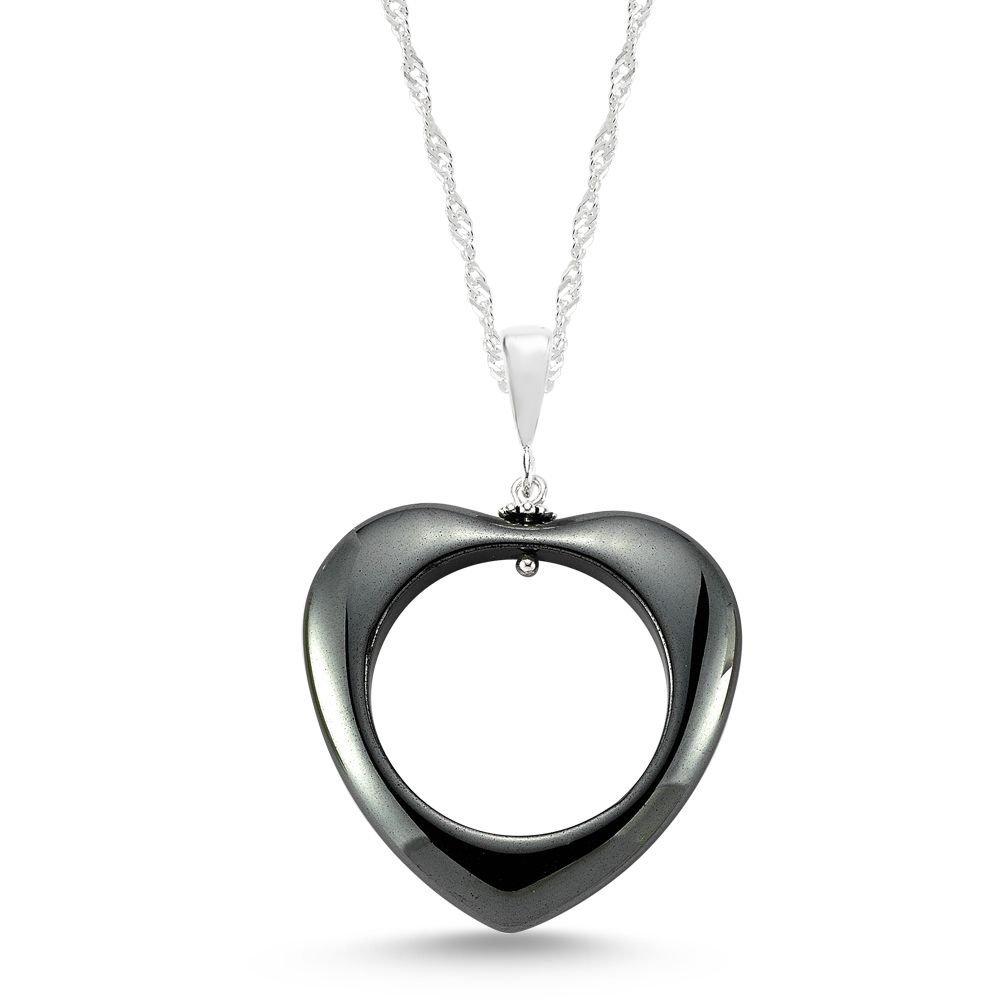 925 Ayar Gümüşlü Hematit Doğaltaş Kalp Kolye