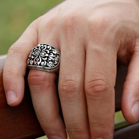 925 Ayar Otantik İşlemeli Gümüş Yüzük - Thumbnail