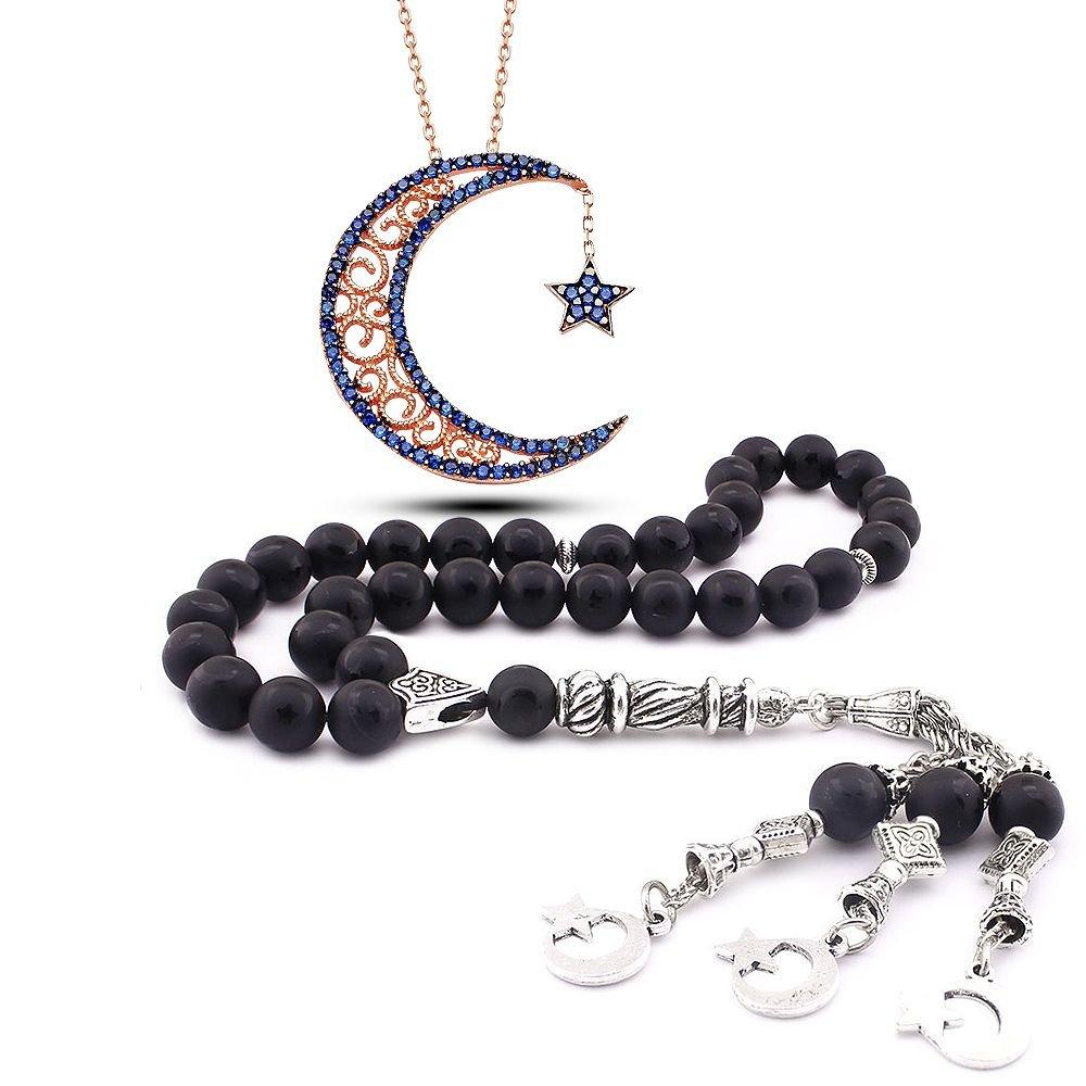 925 Ayar Zirkon Taşlı AyYıldız Kolye ve Ayyıldız İşlemeli Oniks Tesbih Kombini