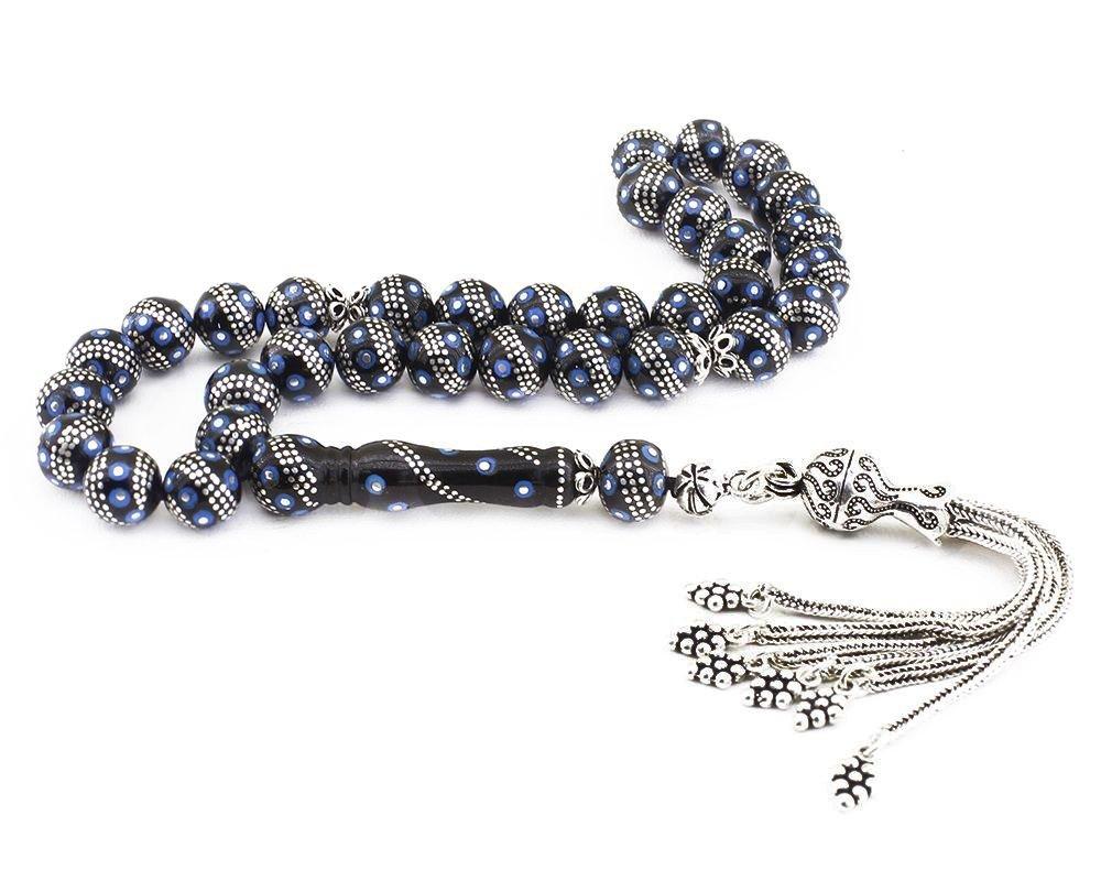 925 Ayar Gümüş Püsküllü Gümüş-Firuze İşlemeli Erzurum Oltu Taşı Tesbih (M-1)