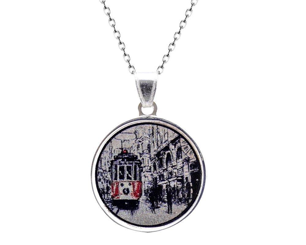 925 Gümüş İstanbul Desen Kolye