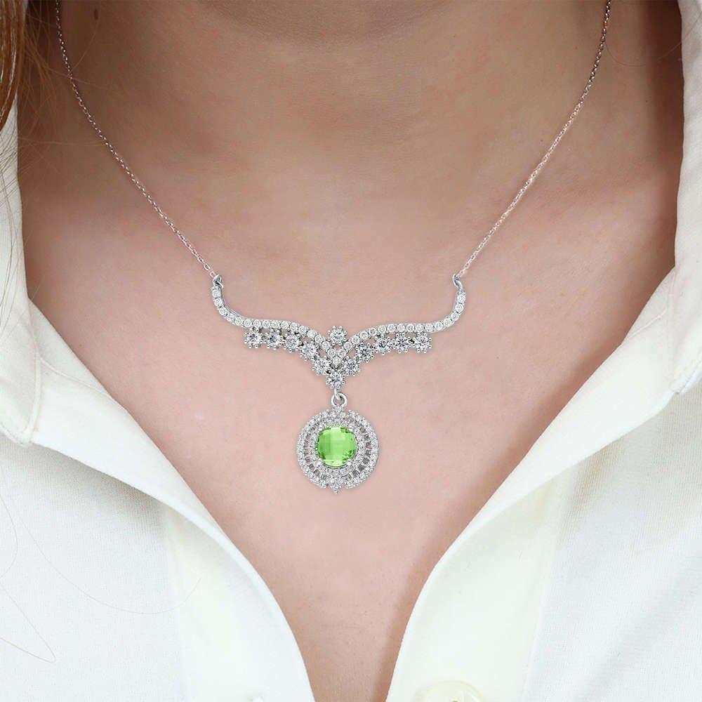 Açık Yeşil Zirkon Taşlı 925 Ayar Gümüş Bayan Kolye