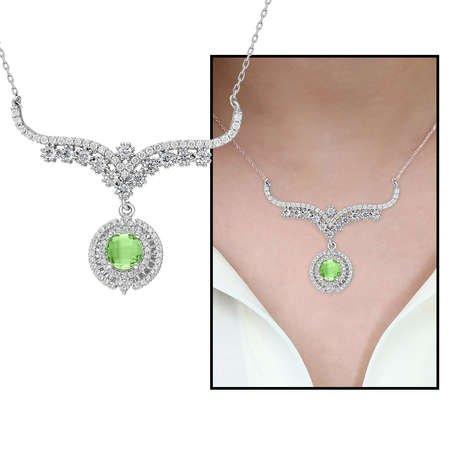 Açık Yeşil Zirkon Taşlı 925 Ayar Gümüş Bayan Kolye - Thumbnail