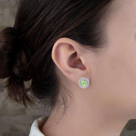 Açık Yeşil Zirkon Taşlı 925 Ayar Gümüş Bayan Küpe - Thumbnail