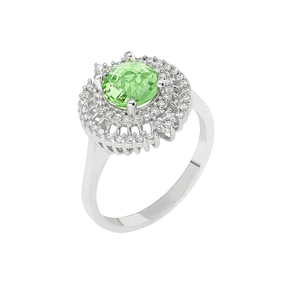 Açık Yeşil Zirkon Taşlı 925 Ayar Gümüş Bayan Yüzük