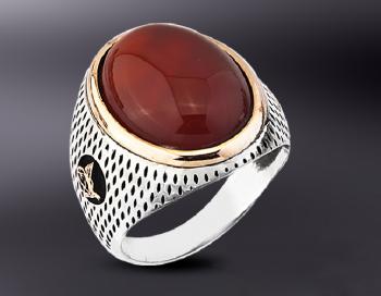 Akik Taşlı Tuğralı Model Gümüş Yüzük - Thumbnail